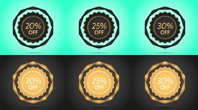 Set of Black and Golden Sale Badges. Vector Badge with Offer of Discount 20 25 30 Percent Off, surrounded by Twisted Ribbon, on the Light-blue and Black vector illustration