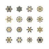 Set of black and golden snowflakes on white background Stock Photo