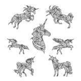 Set of black graphic unicorns. Stock Images