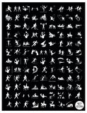 A Set of Black and Gray Sport Icons. Illustration Collection of White Icon of 107 Winter and Summer Sport on Black Background vector illustration