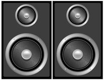 Set of Black and Grey Stereo Speakers Royalty Free Stock Photography