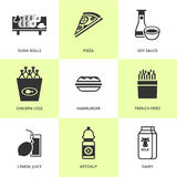 Set of black grocery and food icons. Royalty Free Stock Image