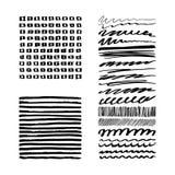 Set of Black Grunge Brush ink Stroke. Stock Photo