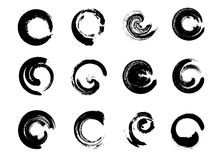 Set of Black Grunge Circle Stains. Vector illustration. Hand Drawn Enso Zen Ink Circles Collection. Stock Photo
