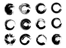 Set of Black Grunge Circle Stains. Vector illustration. Hand Drawn Enso Zen Ink Circles Collection. Royalty Free Stock Photo