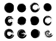 Set of Black Grunge Circle Stains. Vector illustration. Hand Drawn Enso Zen Ink Circles Collection. Royalty Free Stock Image
