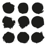 Set of black grunge circles. Artistic design elements. Empty black backgrounds, frames for text or quote Stock Illustration