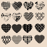Set of black grunge hearts. Design for Valentine's day Royalty Free Stock Photos