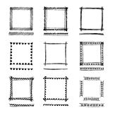 Set of Black Grunge ink Frames. Abstract artistic hand painted Stock Image