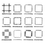 Set of Black Grunge ink Frames. Abstract artistic hand painted Royalty Free Stock Photography