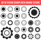 Set of black grunge stamp. Round shapes. Vector Stock Photography