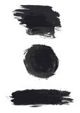 Set of black grunge watercolor blots Stock Image