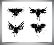 Set of black grunge wings. Royalty Free Stock Images