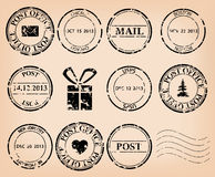Set - black grungy post stamps - vector Stock Image