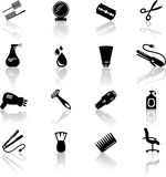 Hair salon icons. Set of black hail salon icons Royalty Free Stock Photos