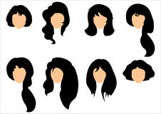 Set of black hair styling for woman. Royalty Free Stock Photography