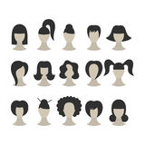 Set of black hairstyles for woman isolated on whit. E background for design stock illustration