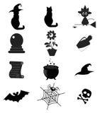 Set of black Halloween or magic  icons isolated  on white Stock Photos