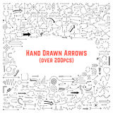 Set of black hand drawn arrows Stock Image