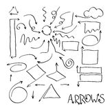 Set of black hand drawn arrows signs Royalty Free Stock Photo