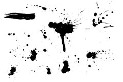 Set of black hand made blots and ink splashes. Abstract elements for design in grunge style. Isolated on white background. Vector illustration Vector Illustration