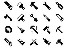 Set of black hand and power tools icons Stock Images