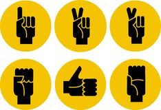 Set of black hands icons on a yellow background. Illustration Stock Photos