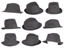 Set of black hat isolated on white Royalty Free Stock Photography
