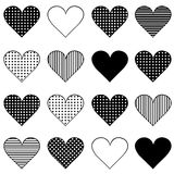 Set of black hearts Stock Photo