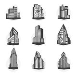 Set of black high-rise buildings and facades of buildings. Stock Photography