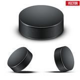 Set of Black Hockey pucks. Vector Illustration. Royalty Free Stock Photography