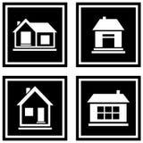 Set black house icons Royalty Free Stock Photo