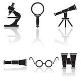 Set of black icons. Set of optical icons, illustration Royalty Free Stock Photo