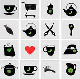 Set of black icons Stock Images