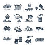 Set of black icons agricultural machinery, equipment, farming Stock Image