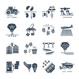 Set of black icons agriculture, farming production Stock Image