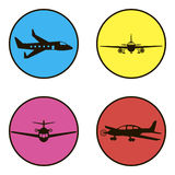 Set of black icons 4 aircraft. On a white background Stock Images