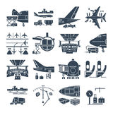 Set of black icons airport and airplane, freight. Cargo aircraft stock illustration