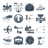 Set of black icons airport and airplane, jet. Set of black icons airport and airplane, business jet Royalty Free Stock Photography