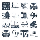 Set of black icons airport and airplane, terminal, runway. Cockpit stock illustration