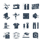 Set of black icons apparel, clothing, garment manufacturing Royalty Free Stock Images