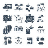 Set of black icons cafe, bar, restaurant, fast food interior. And exterior stock illustration