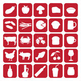 Set of black icons of different type of food Royalty Free Stock Images