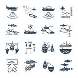 Set of black icons fishing process Stock Image