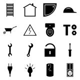Set of black icons flat. A set of vector signs construction concept. Repair collection. stock illustration