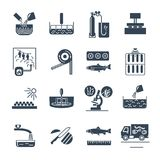 Set of black icons food, meal production process, fish, cooking. Set of black icons food, meal production process, fish, meat, cooking Royalty Free Stock Photo