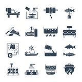 Set of black icons food, meal production process, fish. Meat Royalty Free Stock Photo