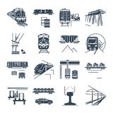 Set of black icons freight and passenger rail transport, train. Set of black icons freight and passenger rail transport, railway, train, terminal, locomotive vector illustration