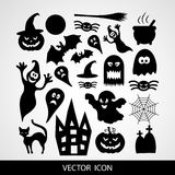 Set of black icons for Halloween on a gray background Stock Images