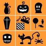 Set of black icons for Halloween on orange background Stock Photos